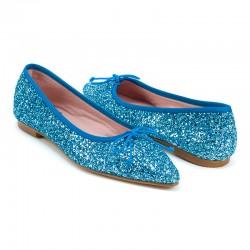 Bailarina punta glitter azul