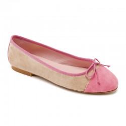 Bailarina ante beige y rosa