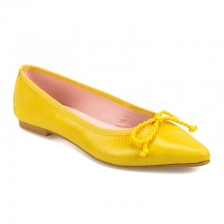 Bailarina punta piel amarillo