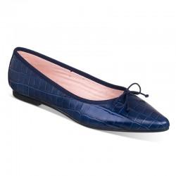 Bailarina plana de piel tipo cocodrilo azul marino - Modelo Boston.