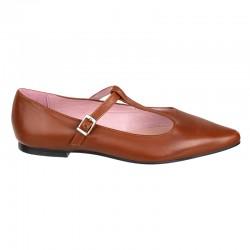 Zapato de tacón con pequeña solapa, en piel tipo serpiente acharolada color marrón - Modelo Kaduna