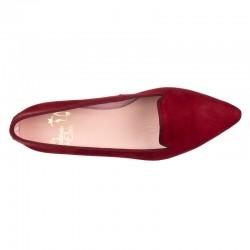 Zapato tacón piel burdeos
