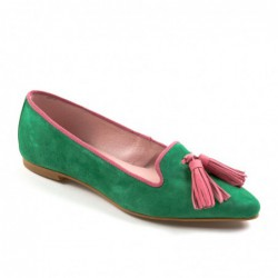 Slipper ante verde y rosa