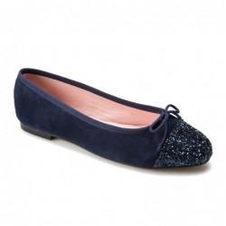 Bailarina ante y glitter azul